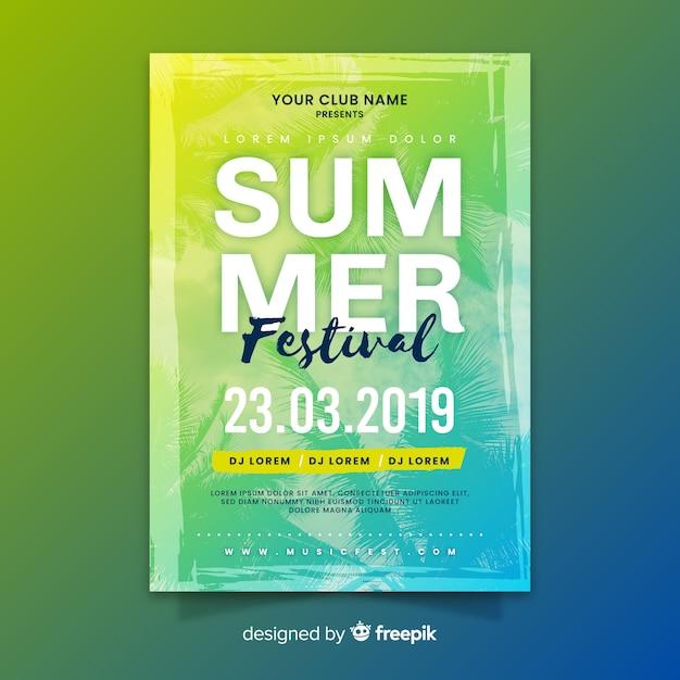 Affiche du festival de musique d'été dégradé Vecteur gratuit