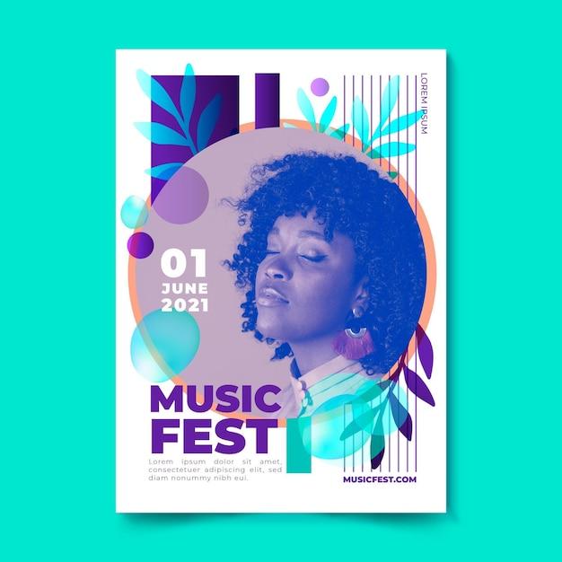 Affiche Du Festival De Musique Femme Aux Yeux Fermés Vecteur gratuit