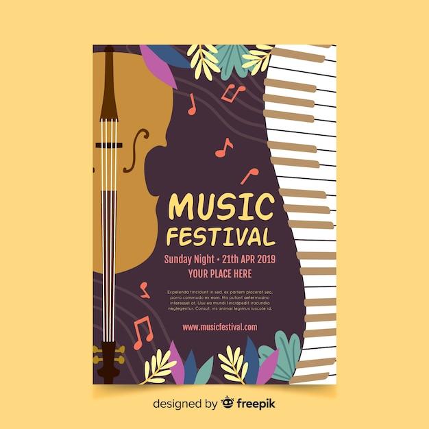 Affiche du festival de musique feuilles dessinées à la main Vecteur gratuit