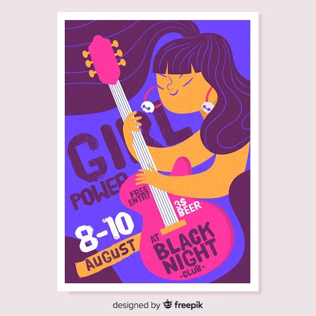 Affiche du festival de musique fille guitariste dessiné à la main Vecteur gratuit