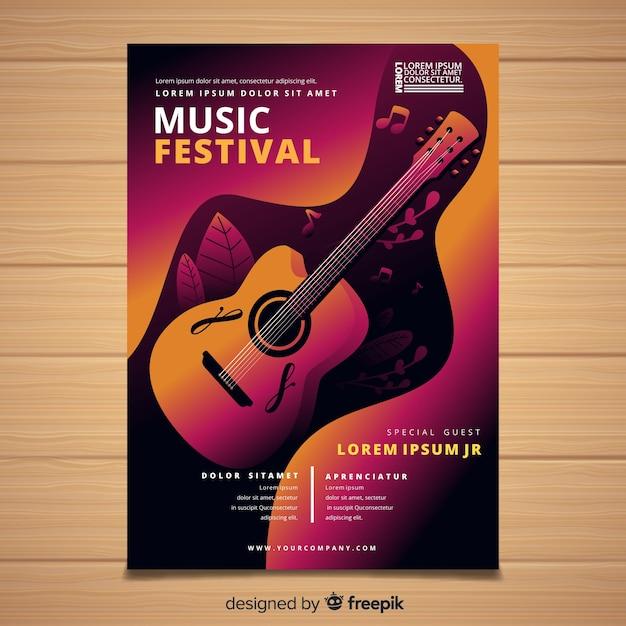 Affiche du festival de musique de guitare dégradé Vecteur gratuit