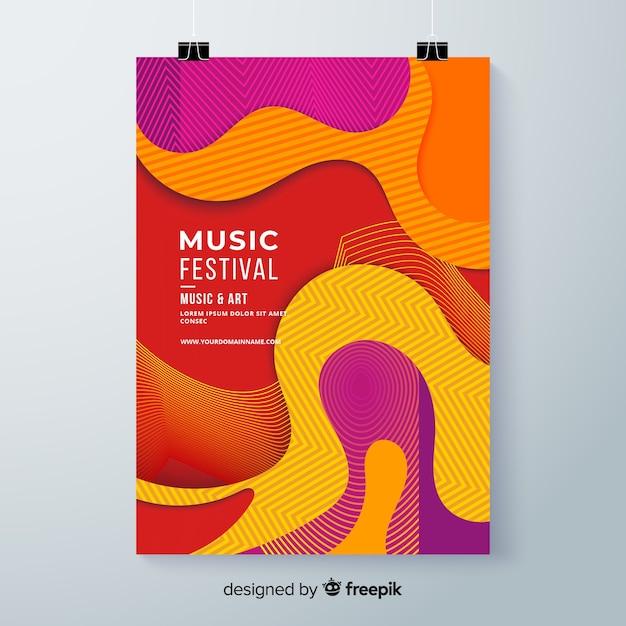 Affiche du festival de musique ondulée Vecteur gratuit