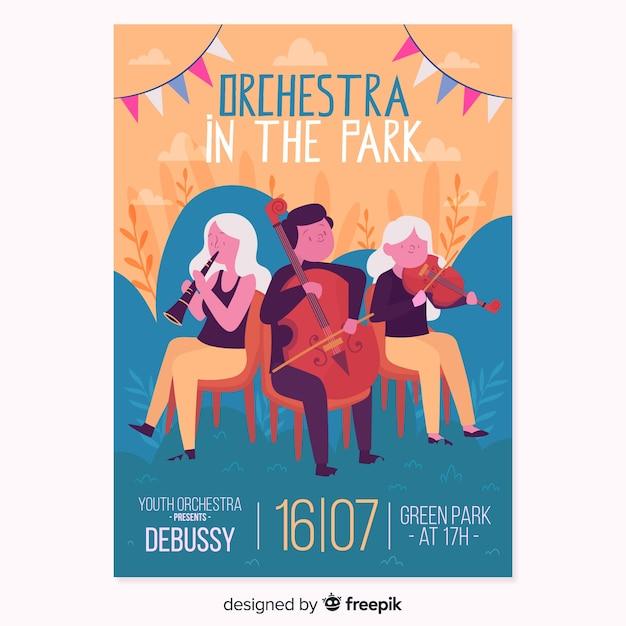 Affiche du festival de musique d'orchestre dessinée à la main Vecteur gratuit
