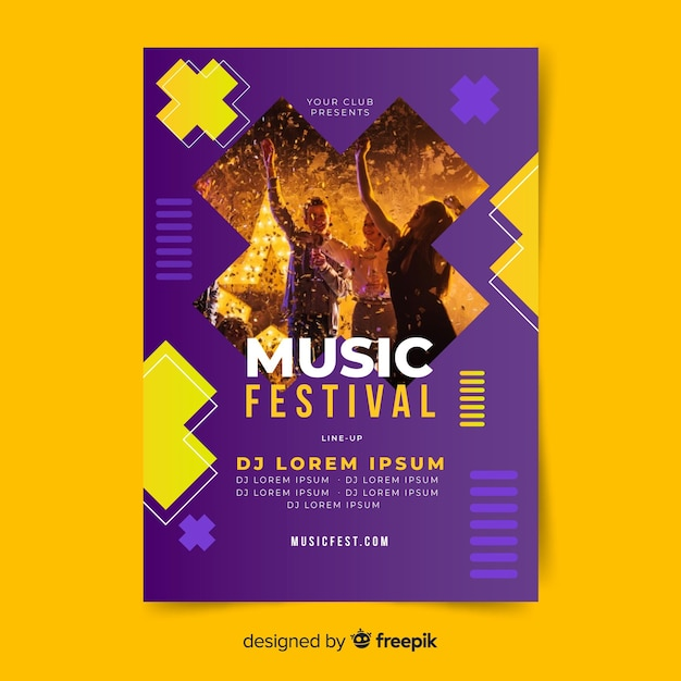 Affiche du festival de musique avec photo Vecteur gratuit