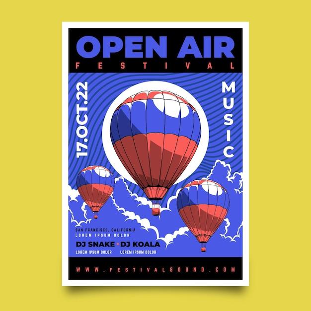 Affiche Du Festival De Musique En Plein Air Ballons à Air Chaud Vecteur gratuit