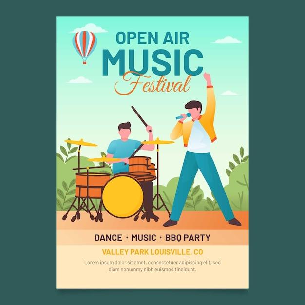 Affiche Du Festival De Musique En Plein Air Design Plat Vecteur gratuit