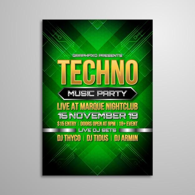 Affiche du festival de musique techno Vecteur Premium