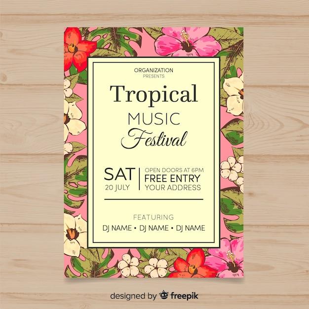 Affiche du festival de musique tropicale Vecteur gratuit