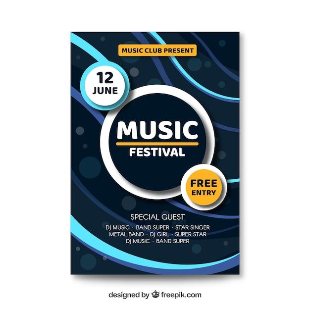 Affiche du festival de musique de vagues abstraites Vecteur gratuit