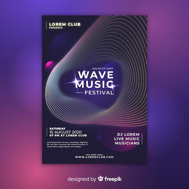 Affiche du festival de musique wave Vecteur gratuit