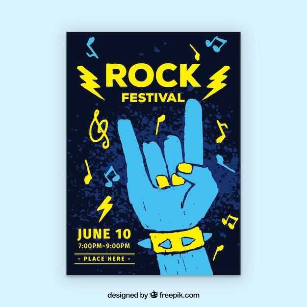 Affiche du festival de rock avec style dessiné à la main Vecteur gratuit