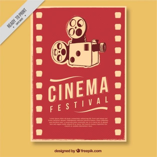 Affiche du film rétro avec appareil photo antique Vecteur gratuit