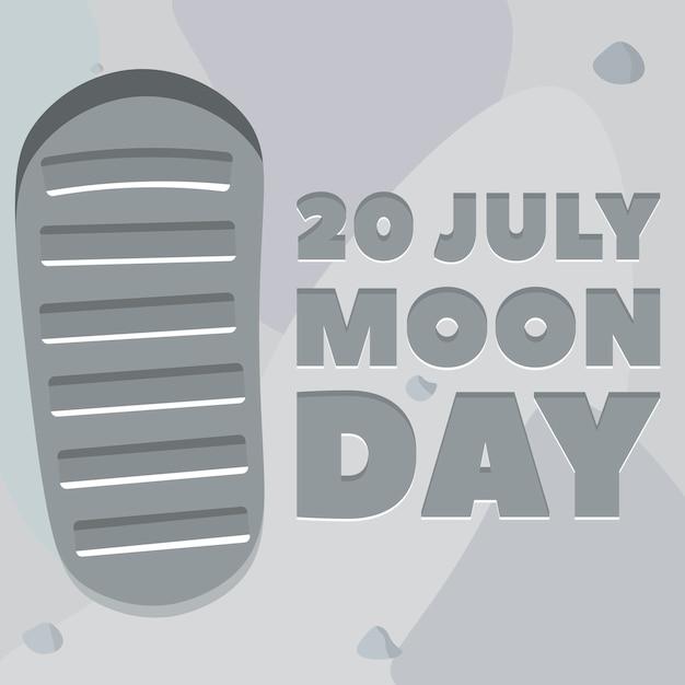 Affiche Du Jour De La Lune. Empreinte, Sol Lunaire. Vecteur Premium