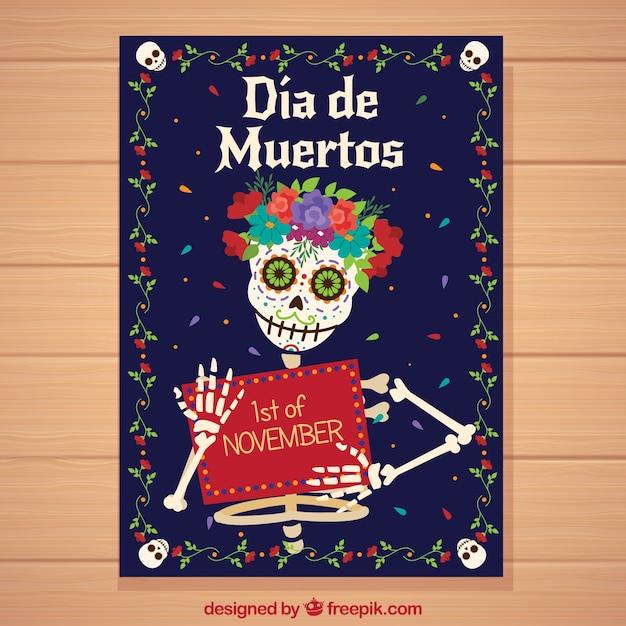 Affiche Du Jour Des Morts Avec Un Squelette Heureux Vecteur gratuit