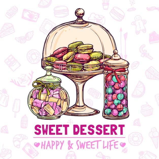 Affiche du magasin de bonbons Vecteur gratuit