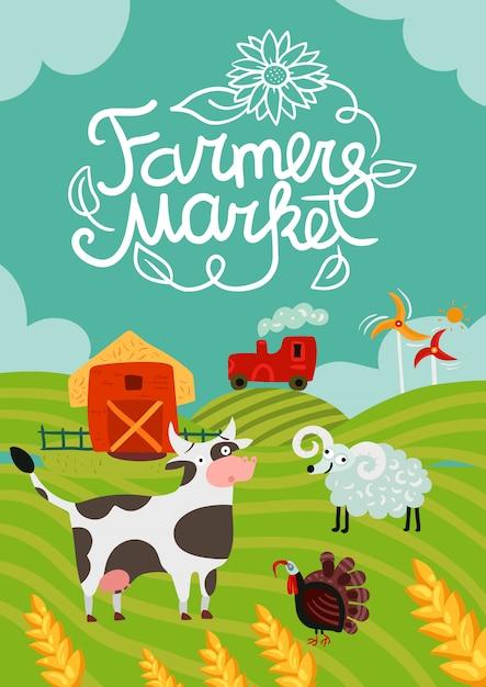 Affiche du marché des fermiers Vecteur gratuit