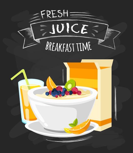 Affiche du menu du petit déjeuner d'un hôtel classique Vecteur gratuit