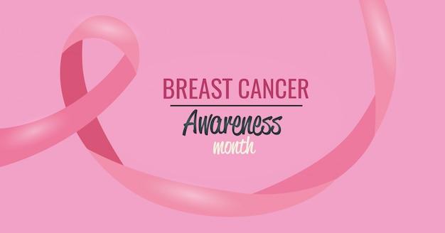 Affiche du mois de sensibilisation au cancer du sein avec ruban Vecteur gratuit