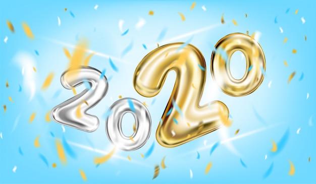 Affiche du nouvel an 2020 dans le ciel bleu Vecteur Premium