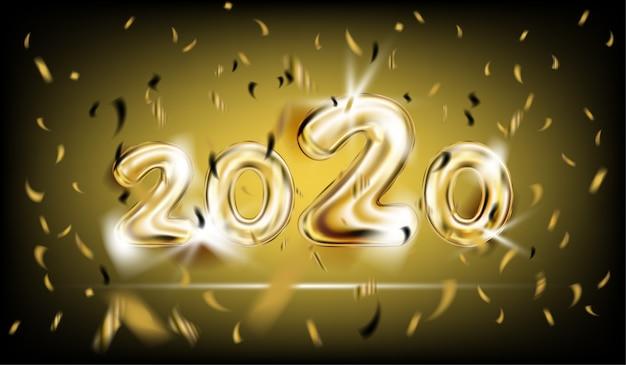 Affiche du nouvel an 2020 en noir Vecteur Premium