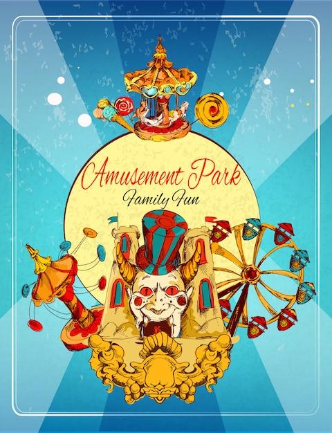 Affiche du parc d'attractions Vecteur gratuit