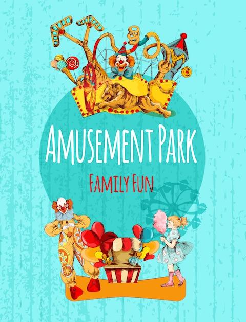 Affiche du parc d'attractions Vecteur Premium