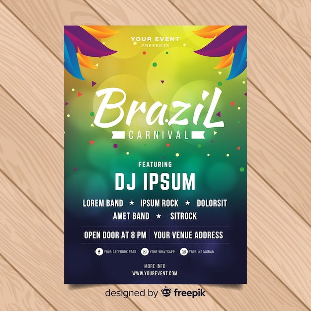 Affiche du parti carnaval brésilien de cercles flou Vecteur gratuit