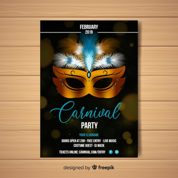 Affiche du parti carnaval masque masque réaliste Vecteur gratuit