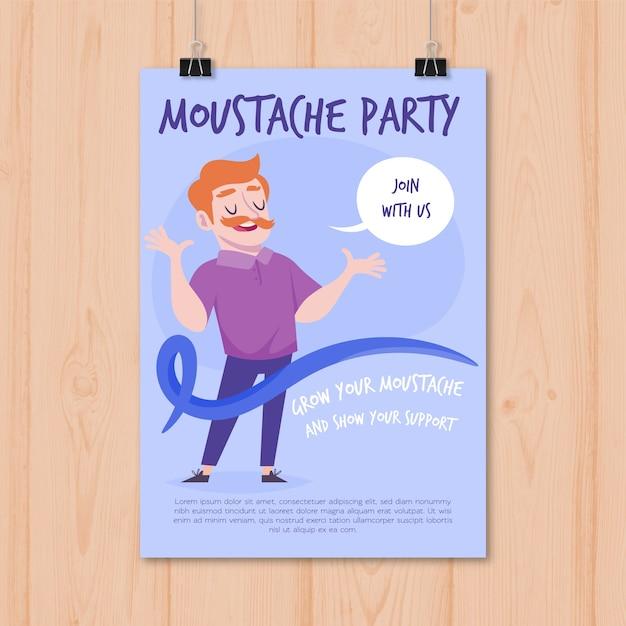 Affiche du parti movember moderne avec un design plat Vecteur gratuit