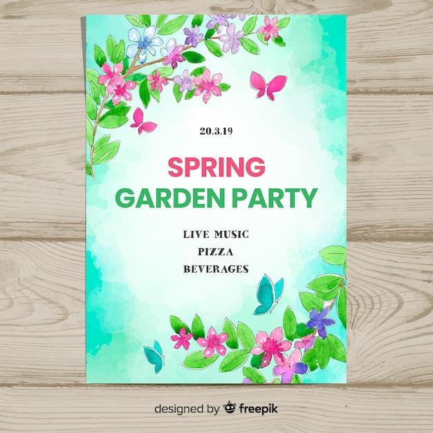 Affiche du parti printemps aquarelle branches Vecteur gratuit
