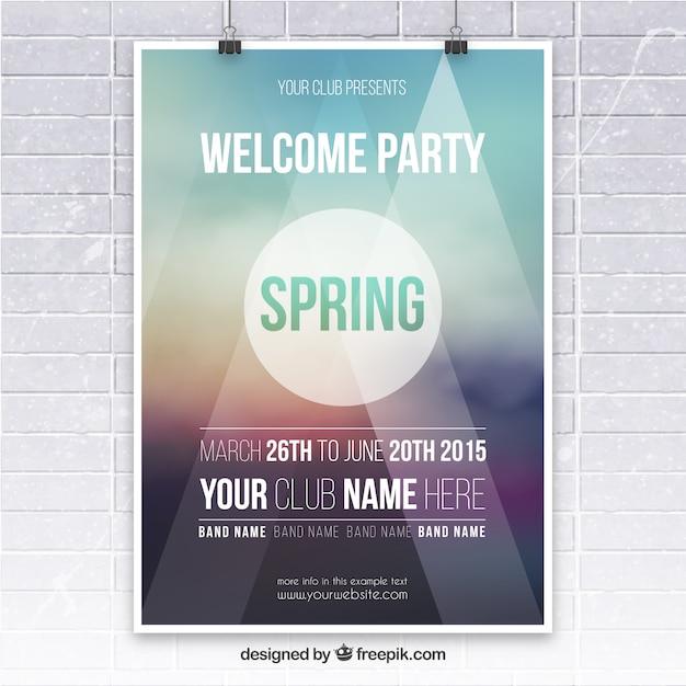 Affiche du parti de printemps Vecteur gratuit