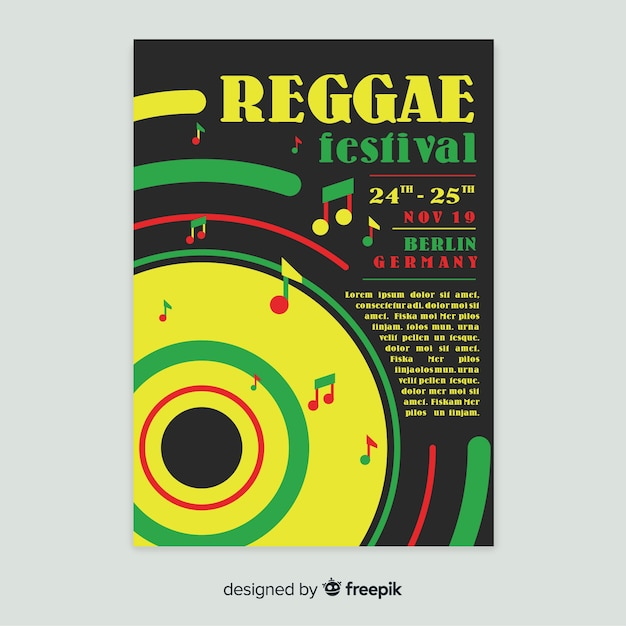 Affiche du parti reggae coloré avec design plat Vecteur gratuit