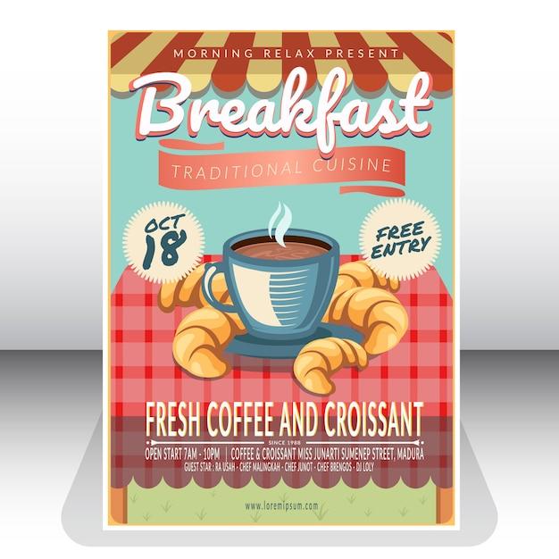 Affiche du petit déjeuner traditionnel Vecteur Premium