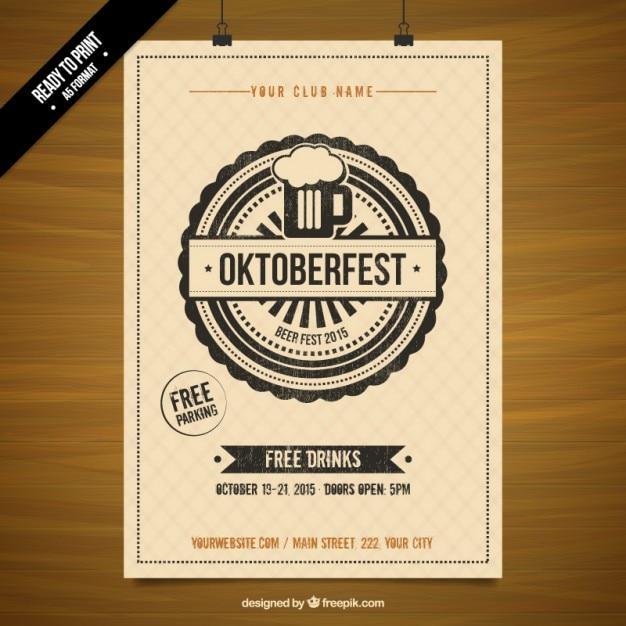 Affiche du pochoir oktoberfest Vecteur gratuit