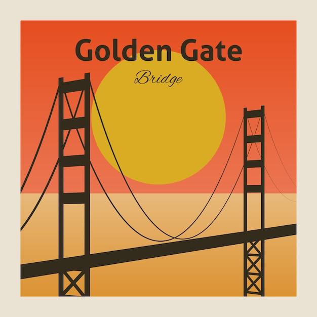 Affiche du pont golden gate Vecteur gratuit