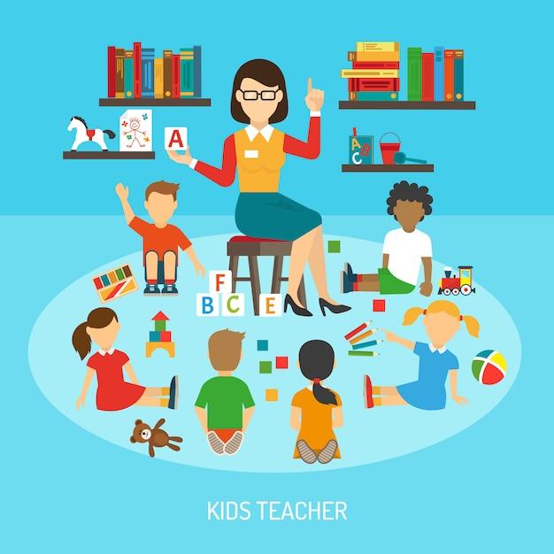Affiche du professeur d'enfants Vecteur gratuit