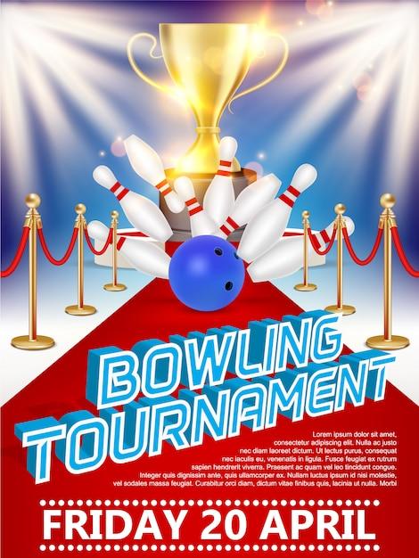 Affiche du tournoi de bowling Vecteur Premium