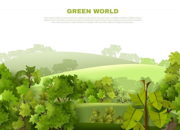 Affiche écologique de paysage vallonné de green world Vecteur gratuit
