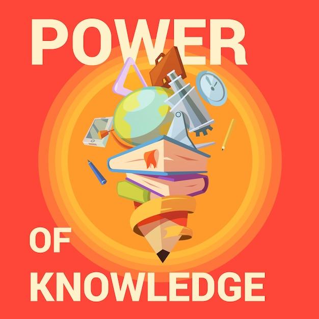 Affiche de l'éducation avec fournitures scolaires en style cartoon rétro Vecteur gratuit