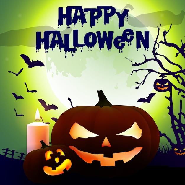 Affiche effrayant halloween Vecteur Premium