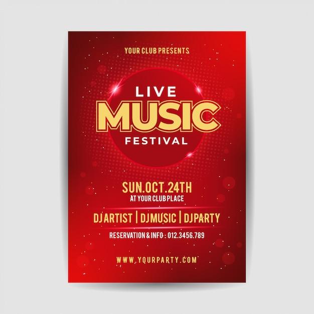 Affiche élégante de flyer du festival live music party Vecteur Premium