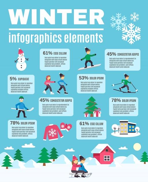 Affiche des éléments d'infographie en plein air de la saison d'hiver Vecteur gratuit