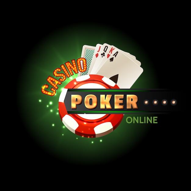 Affiche en ligne de poker de casino Vecteur gratuit