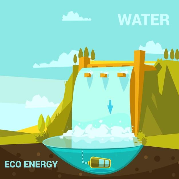 Affiche D'énergie écologique Avec Centrale Hydroélectrique Style Rétro De Dessin Animé Vecteur gratuit