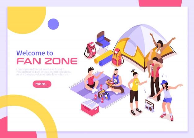 Affiche D'été Du Festival De Musique En Plein Air Avec Invitation à Visiter La Zone Des Fans Isométrique Vecteur gratuit