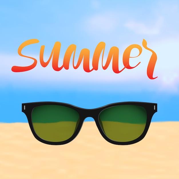 Affiche d'été avec lettrage et plage avec lunettes de soleil Vecteur Premium