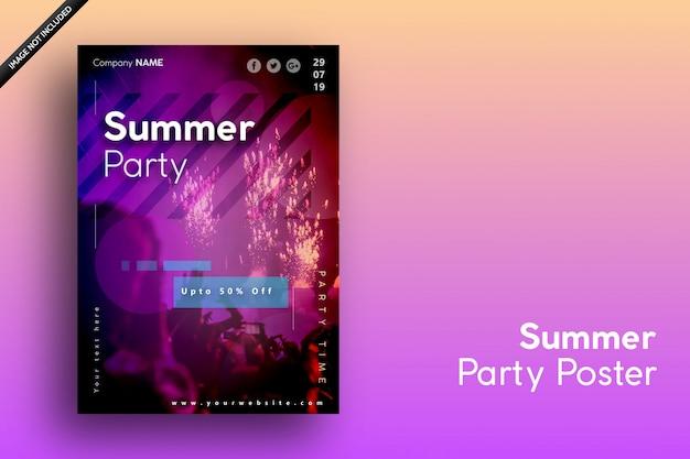 Affiche d'été pour les vacances, la fête et la vente Vecteur Premium