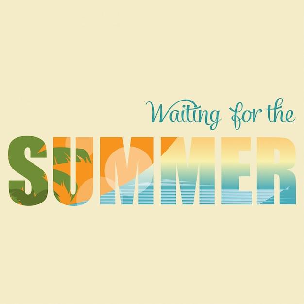 Affiche d'été style rétro Vecteur Premium