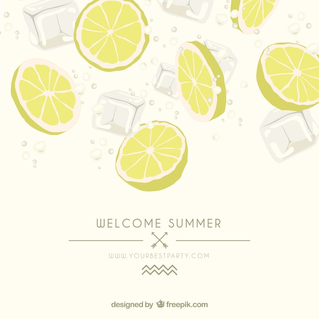 Affiche d'été avec des tranches de citron Vecteur gratuit