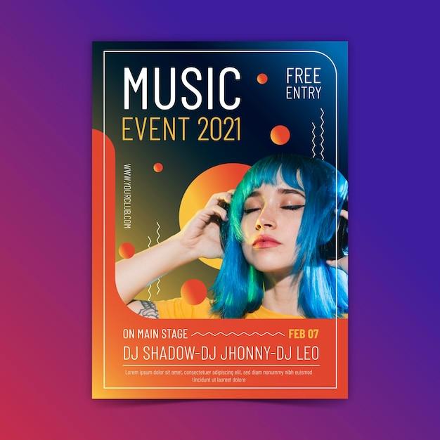 Affiche De L'événement Musical 2021 Vecteur gratuit